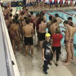 Swimmers meet at pool