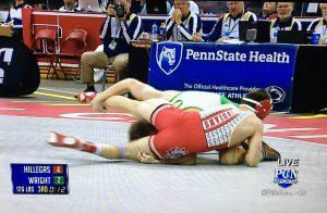 Sam wrestling on top