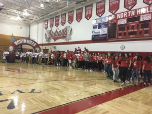 Spring Pep Rally Teams lined up