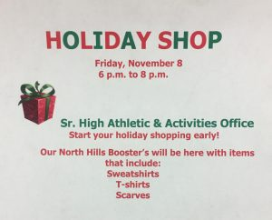 Holiday Shop November 8 athletic activities office 6-8pm