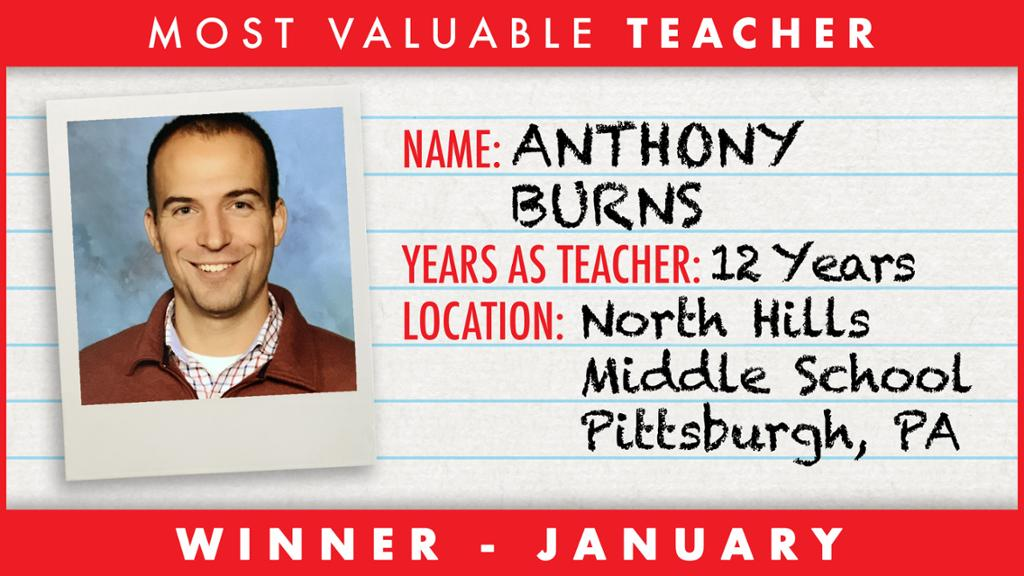 NHMS' Anthony Burns 1 of 3 finalists for NHL's Teacher of the Year