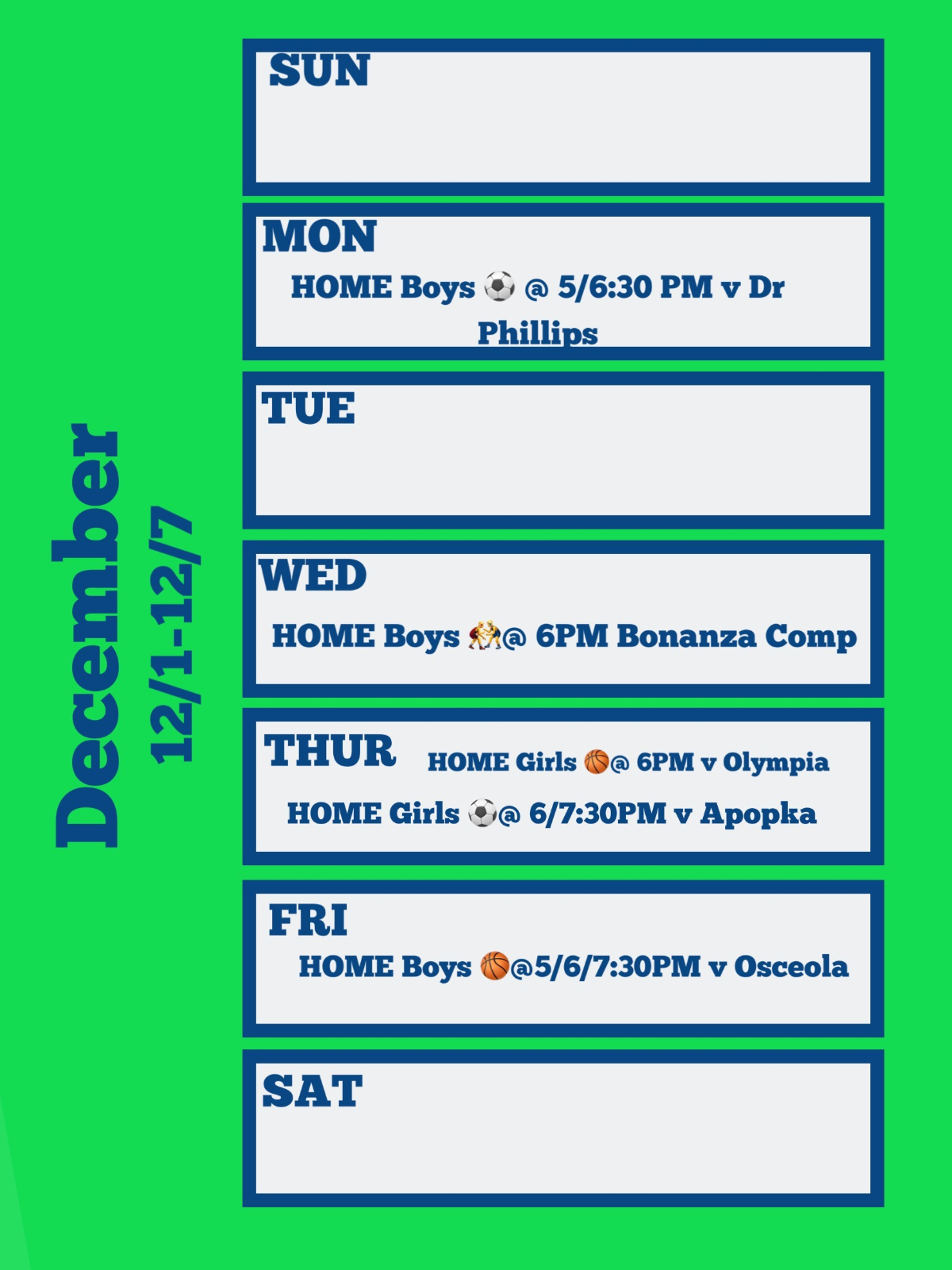 Wolverines Weekly Home Events 12/2-12/7