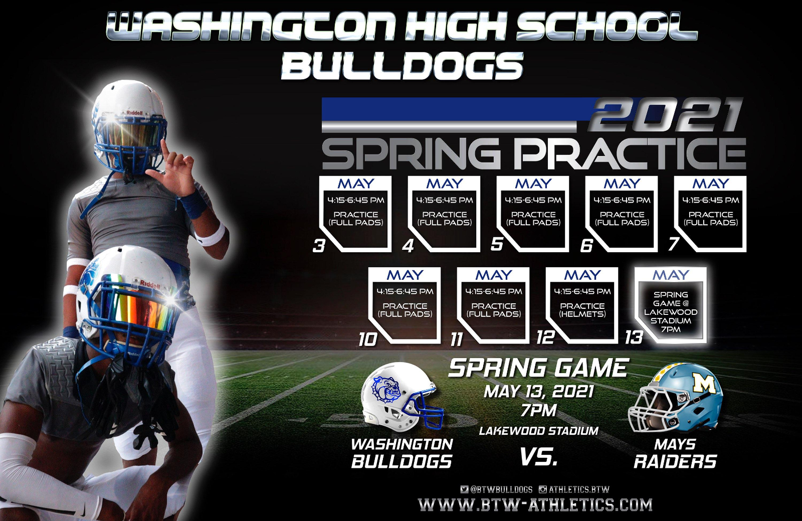 BTW Football 2021 Spring Practice Schedule