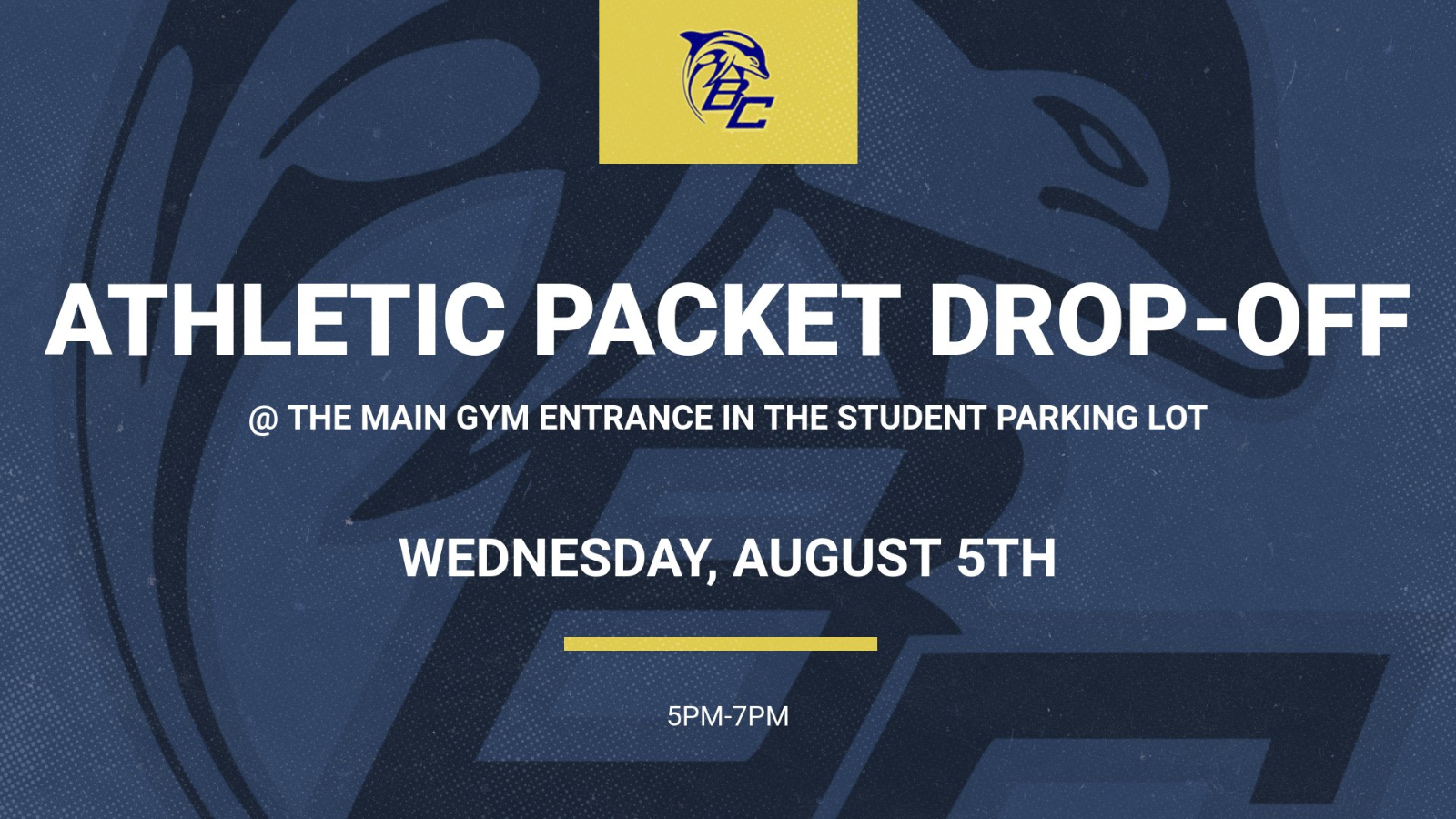 Athletic Packet Drop-Off Wednesday Aug. 5th