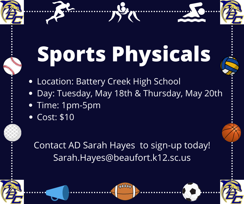 Sports Physicals at BCHS May 18th & 20th