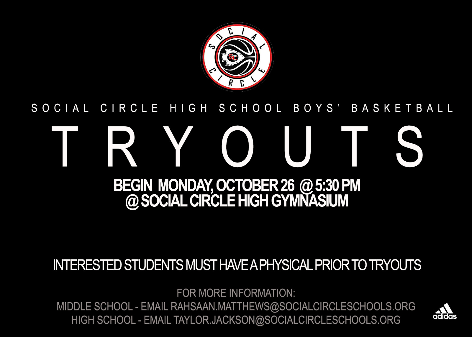 Social Circle High School Boys' Basketball Tryouts, October 26th