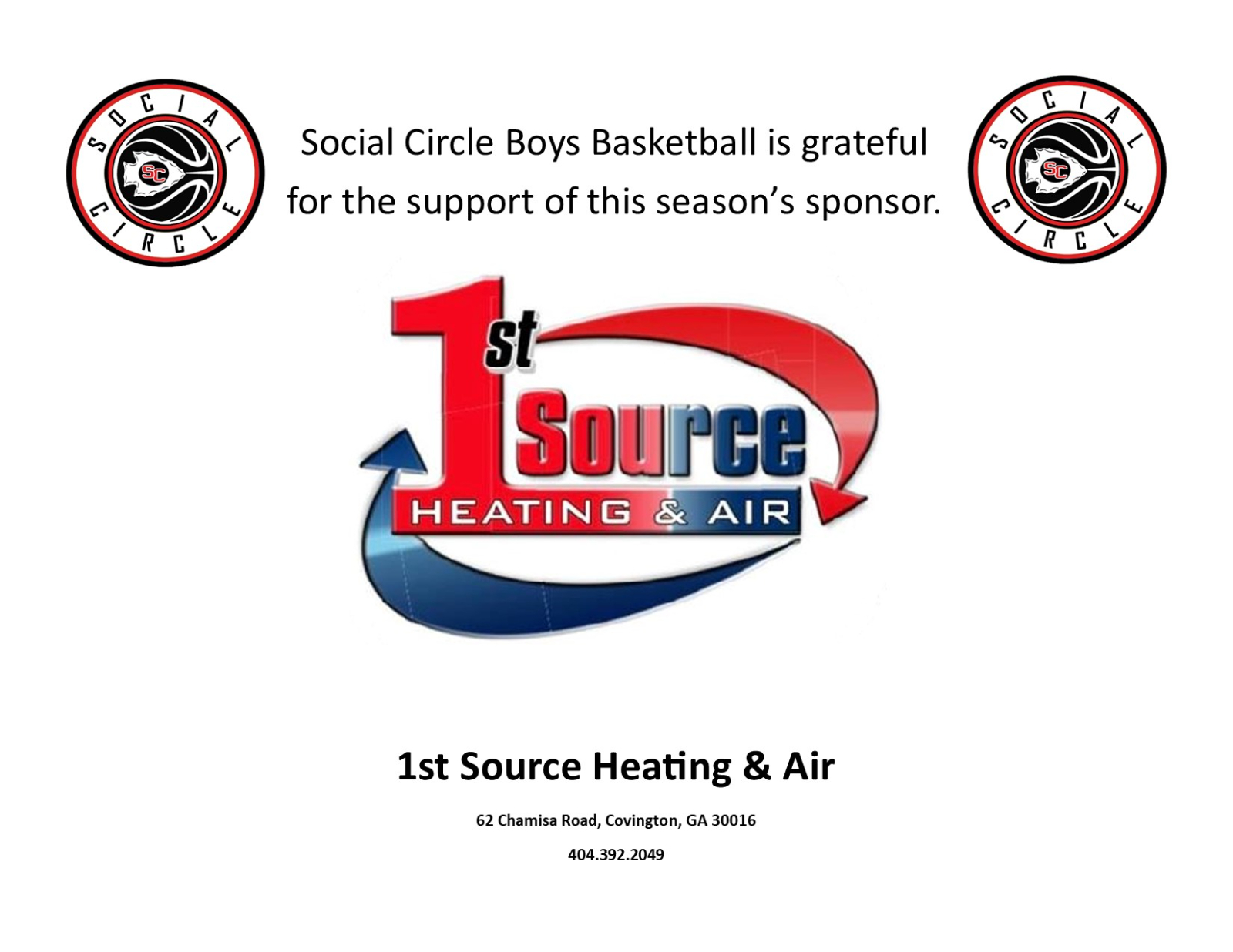 Social Circle Basketball Proudly Thanks Its Sponsor