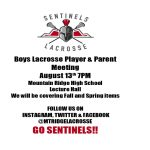 BOYS LACROSSE – PARENT PLAYER MEETING!!!