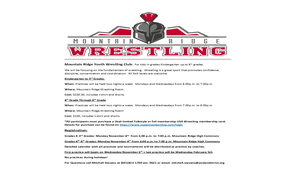 Calling all youth wrestlers K-8th Grade