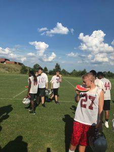B-Team Football Enjoys A Watermelon Break