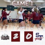 Girls Varsity Volleyball beats Strom Thurmond 2 – 0 in match one of Aiken Tournament
