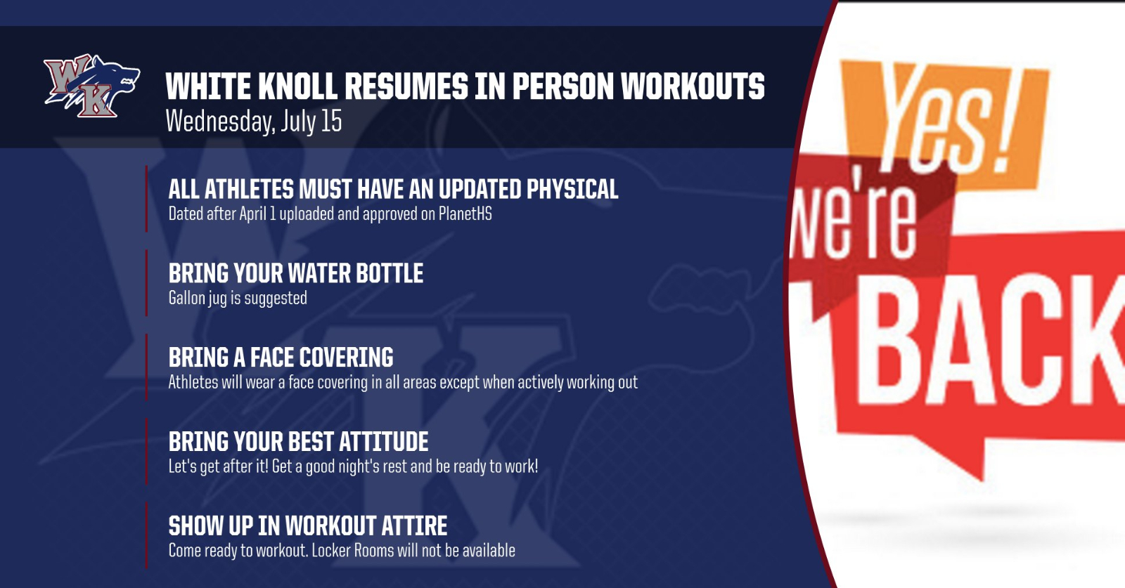 White Knoll Returns to In-Person Workouts