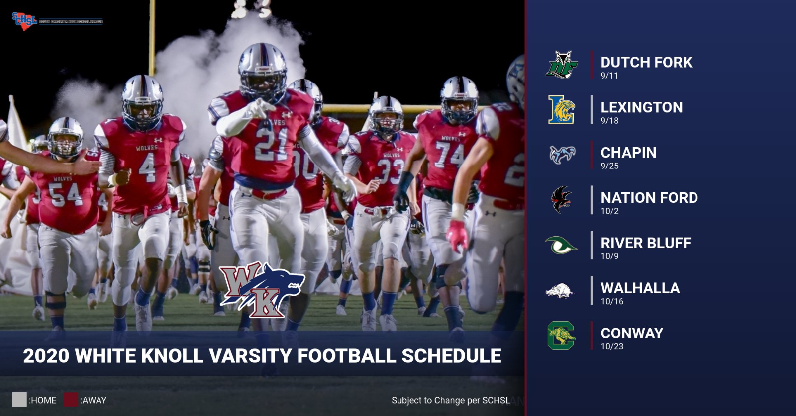 Updated 2020 White Knoll Varsity Football Schedule