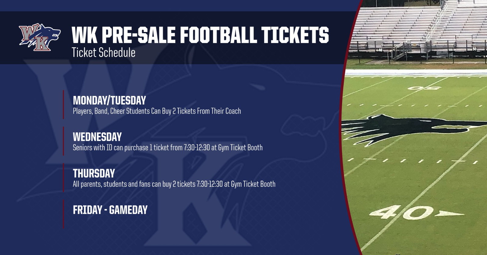 WK Football Pre-Sale Ticket Schedule