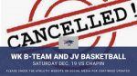 Basketball Dec. 19 Cancelled