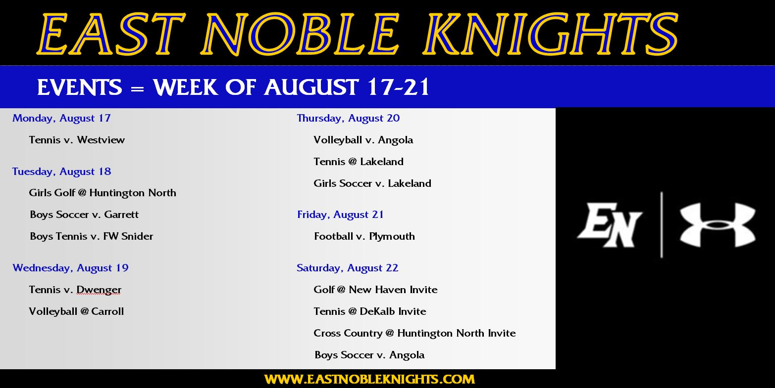 Athletic Events – August 17-22