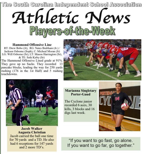 Walker named SCISA player of the week