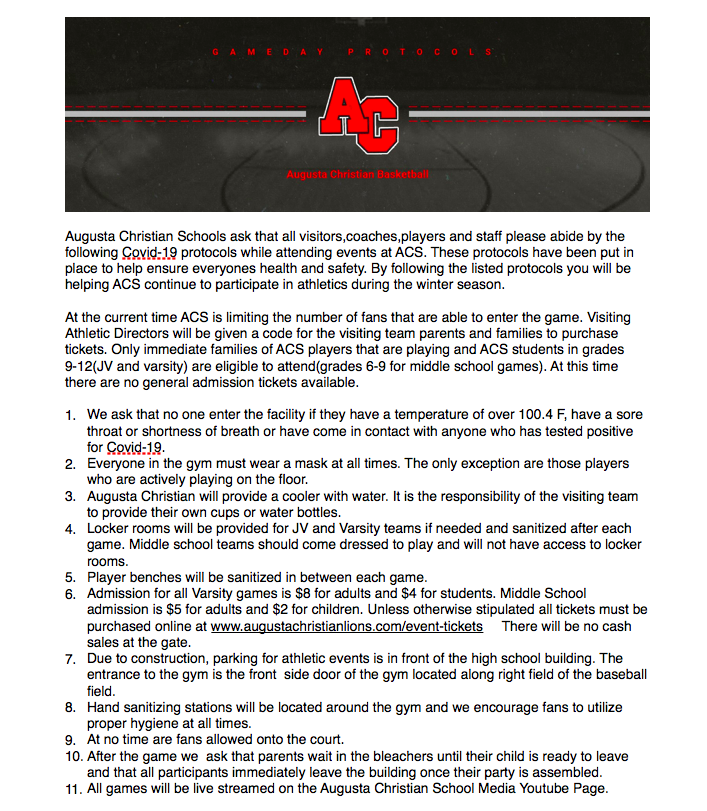 Important note about Basketball at ACS
