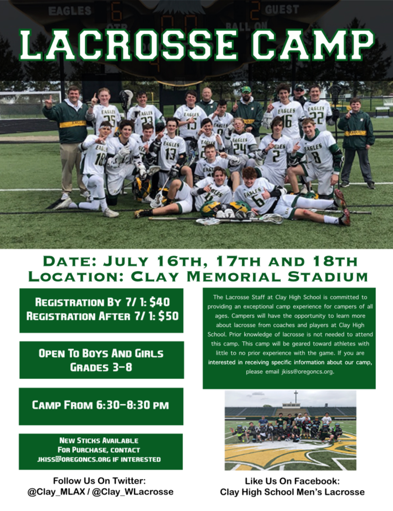 Youth Lacrosse Camp Start One Week From Today!