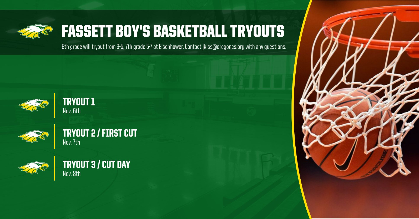 Fassett Boy's Basketball Tryout Dates Announced
