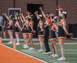 Valley cheer at the Valley varsity football game against Des Moines Roosevelt on Friday, Aug. 28.