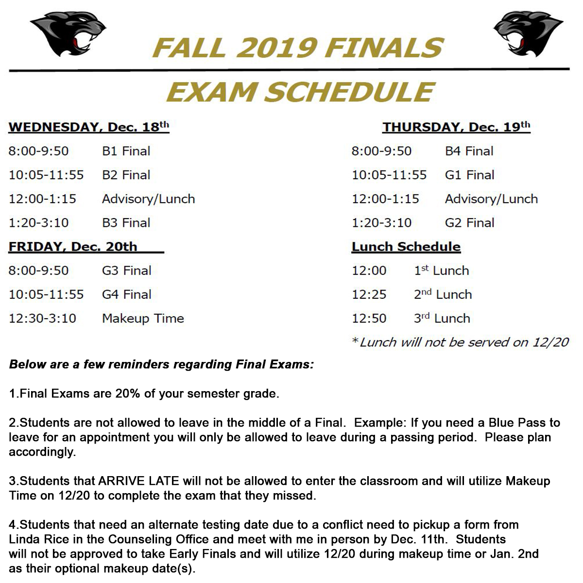 Important Information about Upcoming Finals