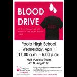 PHS Blood Drive – 4/1/20