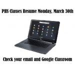 Classes resume online 3/30/20