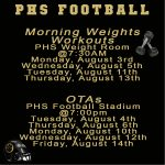Important PHS Football Changes August 3rd through August 14th
