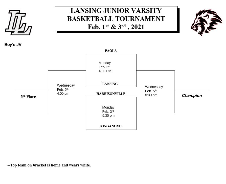 JV Boys Basketball at Lansing Next Week, Monday and Wednesday Restrictions.
