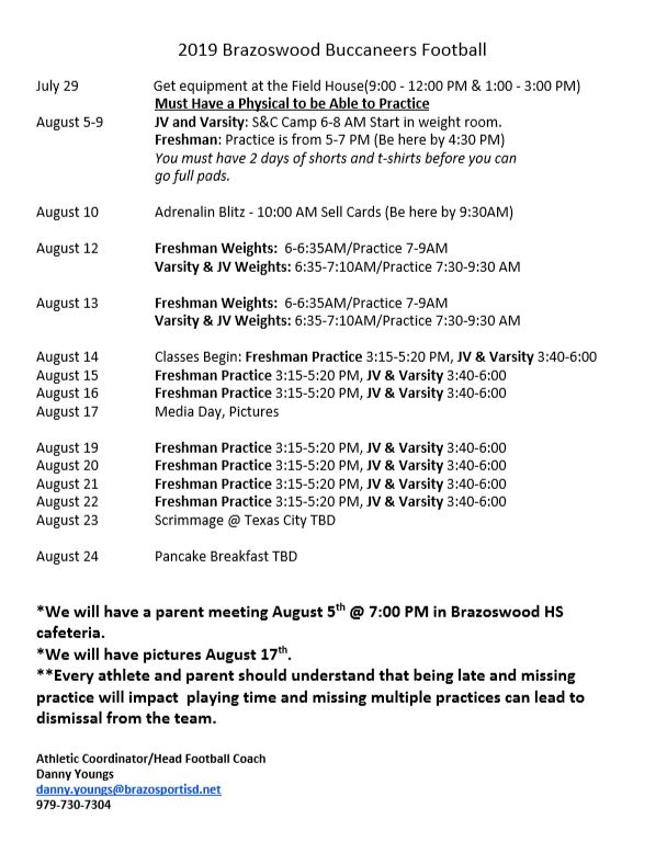 Fall Football Practice Schedule
