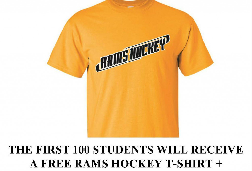 Rams Hockey Giving Away FREE T-Shirts to First 100 Students at Nov. 17th Game