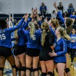 Varsity Volleyball defeats Derby 25-19, 23-25, 25-19 in State Pool Play