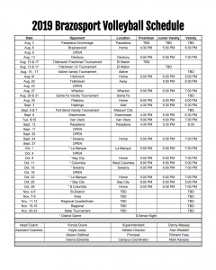 Lady Exporters Volleyball Schedule 2019-2020