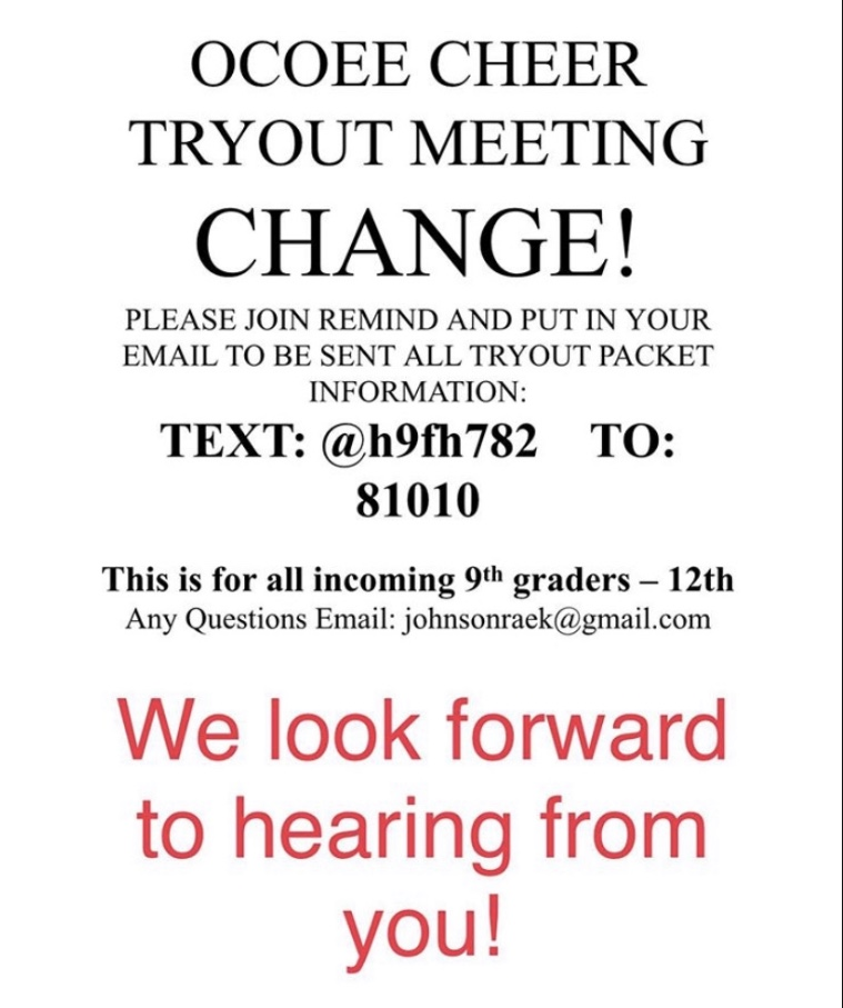 Updated: Cheer tryout info!