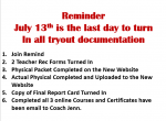 Cheer tryout paperwork must be turned in by tomorrow