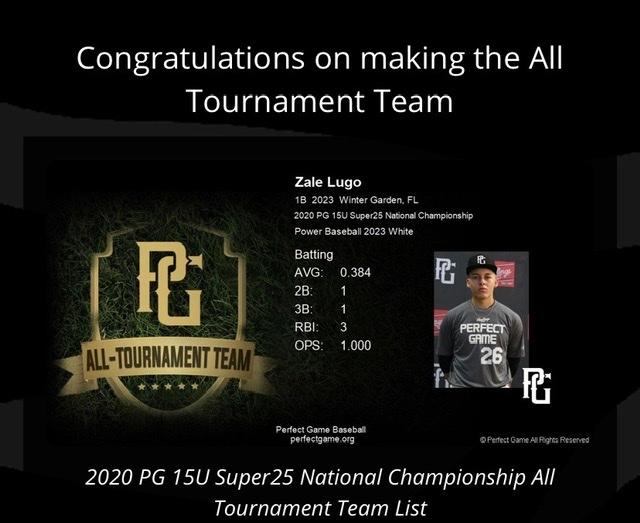 Zale Lugo makes Perfect Game all Tournament team!!