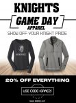 Knights Game Day Apparel – Flash Sale!