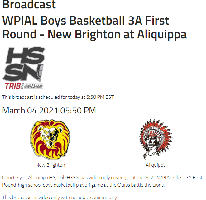 STREAM INFO NB ALIQUIPPA 3/4/21 6PM