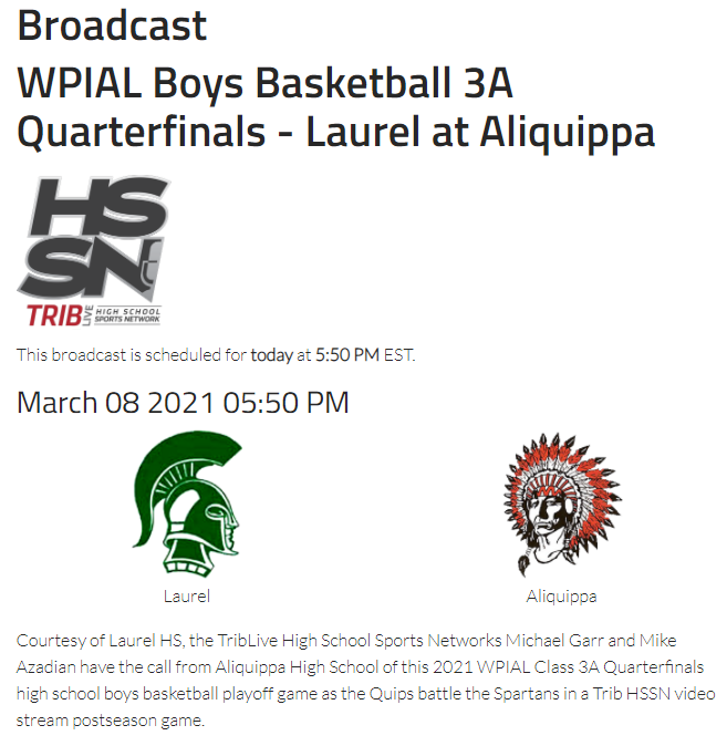 STREAM INFO LAUREL @ ALIQUIPPA 3/8/2021 6 PM