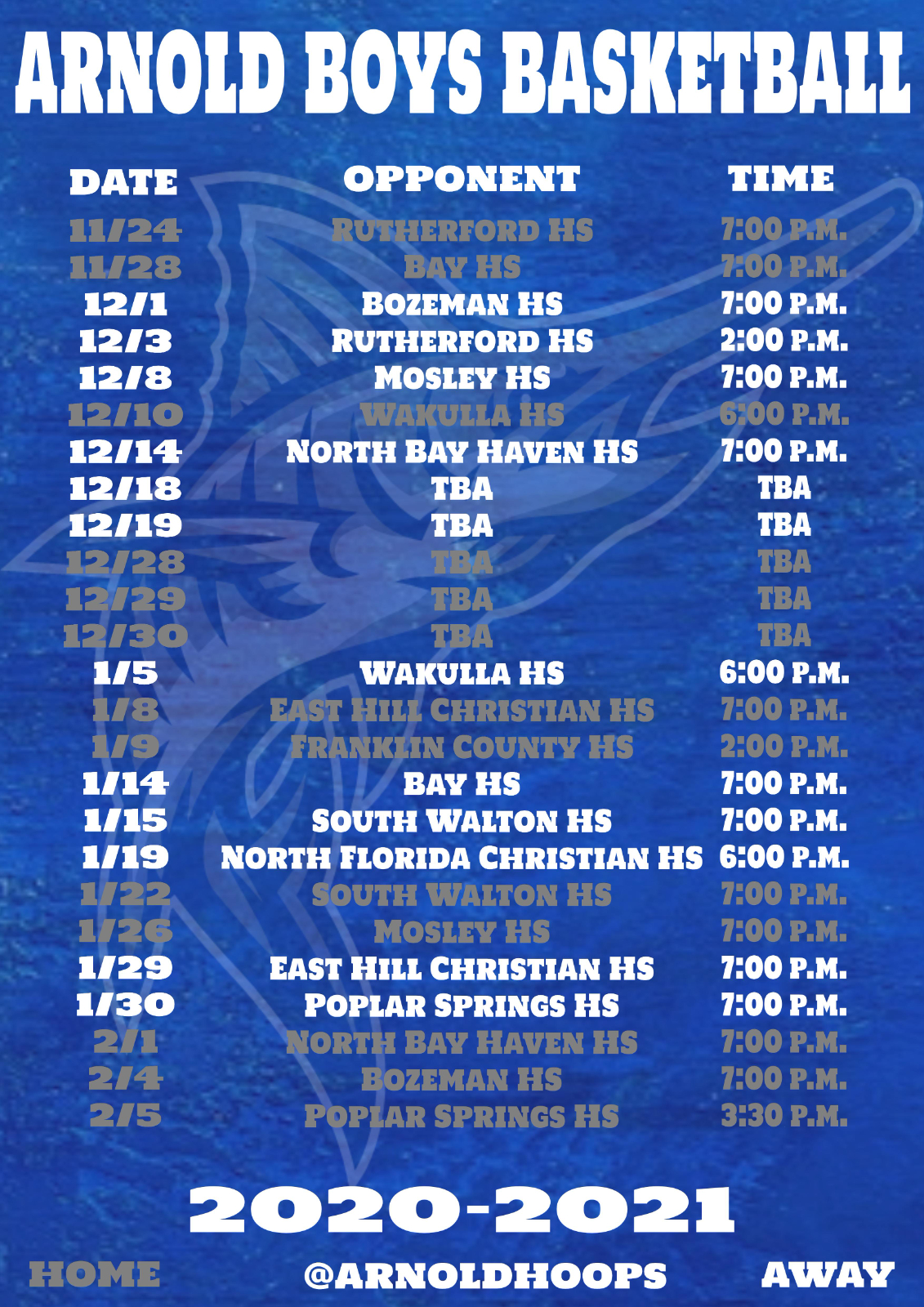 2020-2021 Arnold High School Varsity Boys Basketball Schedule