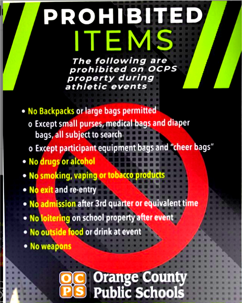 Game Day – IMPORTANT NOTICE: Prohibited Items