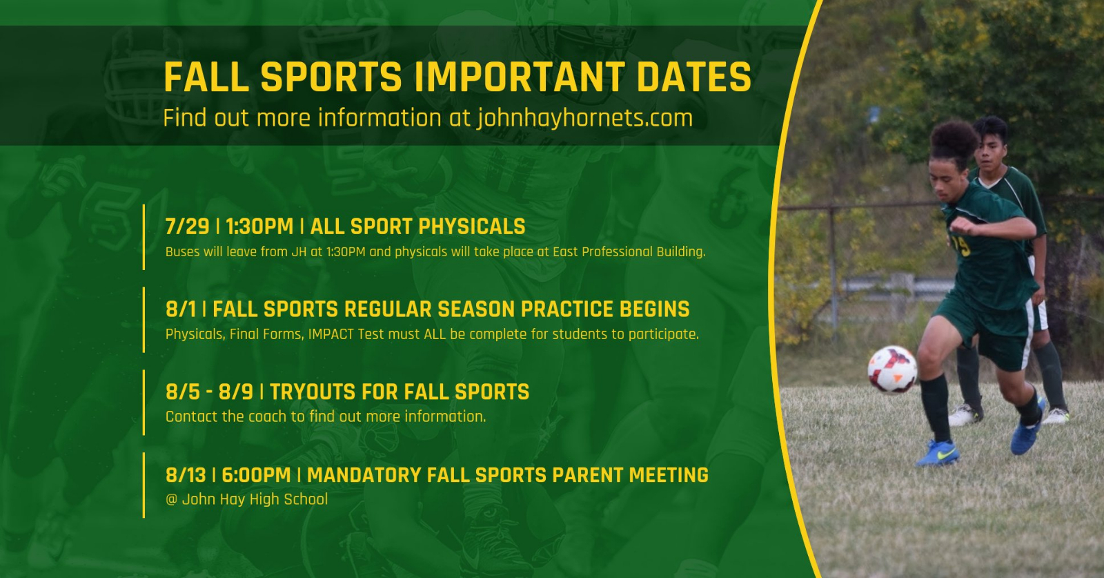 Fall Sports Important Dates
