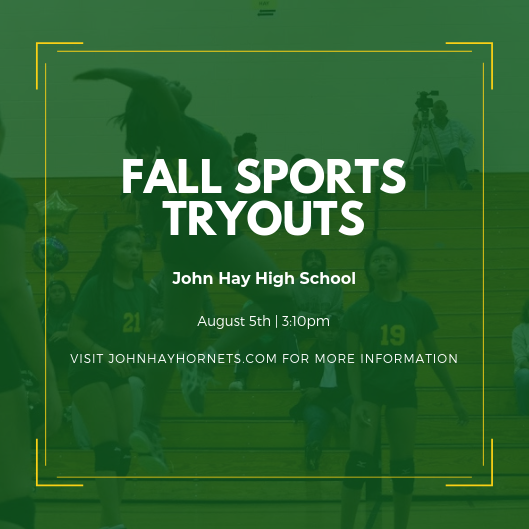 8/5 – Fall Sports Tryouts!