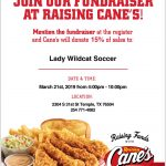 Lady Wildcat Fundraiser on Thursday night at Raising Cane's