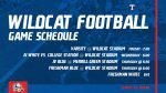 Wildcat Football weekly game schedule