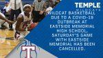Temple – Eastside Memorial basketball cancelled