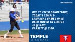 Temple-Lampasas softball games moved to Temple