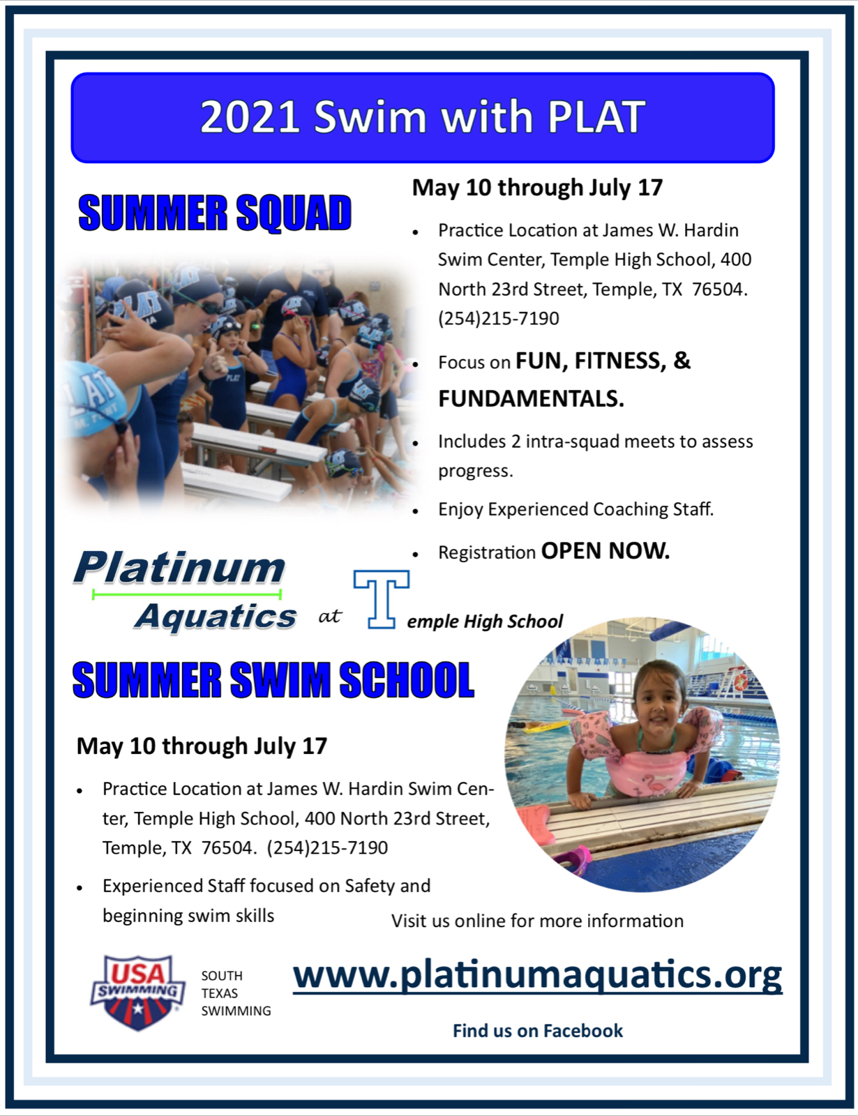 Summer Swim Lessons to start May 10