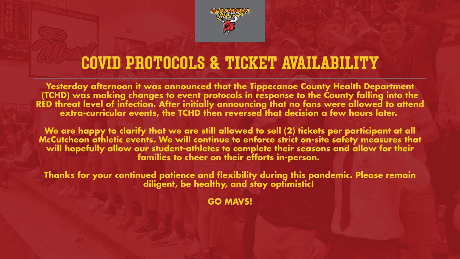 COVID Protocols & Ticket Availability